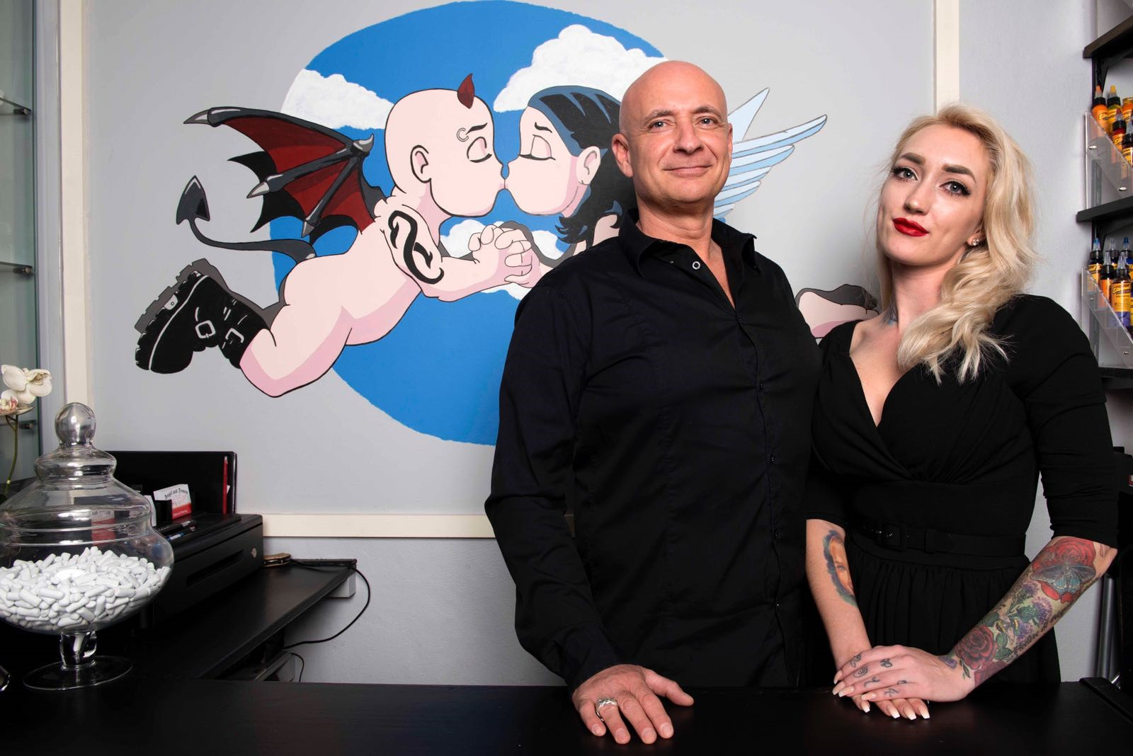 Team Angel And Demon Tattoo Piercing